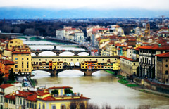 petite florence (Csbr) Tags: city travel bridge winter italy color history film water skyline architecture photoshop river florence europe december slide scan m42 fujifilm arno pentacon toscana renaissance pontevecchio worldheritage 2010 200mm tiltshift velviarvp voigtlanderbessaflex 4200mm gettyscreening