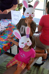 With their finished Easter bunny masks
