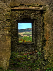 View from the hearth (doncontrols) Tags: building abandoned window overgrown stone outside view decay farm interior country ruin scenic doorway deserted isleofman manx druidale tholtan