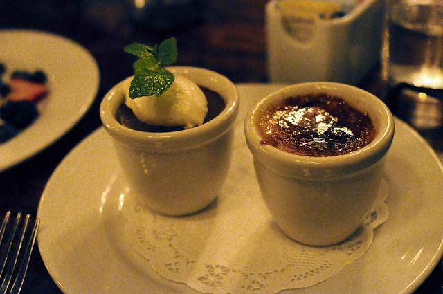 creme brulee & chocolate pudding