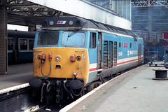 50048 'Dauntless' gets ready to move off at Waterloo and get coupled-up to the stock that would form the 11:10 service to Exeter St. David's. 50048 was withdrawn in July 1991 and cut-up by MC Metals in Glasgow in April 1992 (info courtesy WNXX.com). (jezdgould) Tags: waterloo exeter hoover britishrail dauntless englishelectric class50 networksoutheast 50048 d448