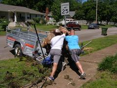 Push, shove, push, shove, etc. (Jer*ry) Tags: tree men project lift massive stump trunk trailer heavy load sagaofthestump