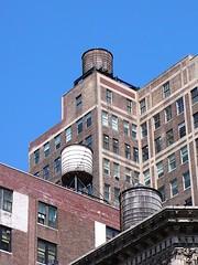 Water Towers (ccr_358) Tags: new york city nyc newyorkcity usa brown newyork water architecture america us rooftops unitedstates unitedstatesofamerica towers bluesky roofs tanks watertowers cityofnewyork ccr358