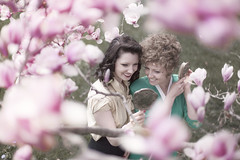 Never Were There More Devoted Sisters (Rob Woodcox) Tags: life flowers sun tree beauty sisters hair happy mirror spring natural antique joy brush magnolias 40s robwoodcox robwoodcoxphotography