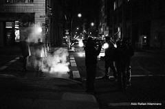 Film noir (Rafakoy) Tags: street camera nyc newyorkcity light people urban blackandwhite bw mist ny newyork cars film night 35mm dark 50mm lights noir manhattan steam late epson avenue eos3 ilfordxp2400 canoneos3 c41 canonef50mmf14usm epsonv600 epsonperfectionv600photo epsonperfectionv600