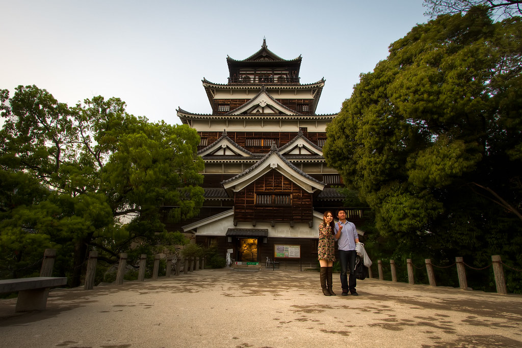 Posing for Hiroshima Castle