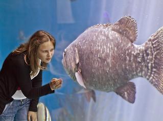 Girl kisses giant fish !