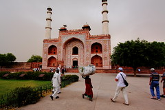 0033 Emperor Akbar's Mausoleum Agra, India (Traveling Man  Back in the world) Tags: red woman india white man black men geometric floral wall garden square sandstone angle head tomb wide deep style agra wideangle mausoleum panels marble slate bundle duststorm saree sari akbar charbagh emperor paved avenues gatehouse sikandra inlaid mughal jahangir canonefs1022mmf3545usm calligraphic nh2 canoneos50d mathuraroad tartary markaveritt fourriversofparadise emperorakbarsmausoleum mughalemperorakbarthegreat runningwaterchannel