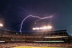 [Free Image] Architecture / Building, Lightning / Thunderbolt, Stadium, United States of America, Baseball, 201106240100
