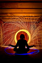Unbearable Brightness of Being (Agent Cooper) Tags: lightpainting strange yoga pose weird magic surreal serene meditation spiritual sparks magical bizarre meditative yogapose diypfav