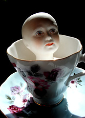 Bone China Doll in a Bone China Teacup (The People In My Head) Tags: flowers tea teacup saucer dollhead dollface porcelaindoll bonechina paintedface chinadollface paintedflowers lizjames bonechinateacup porcelaindollface prettyteacup thepeopleinmyhead bonechinadollshead oldfashionedteacup