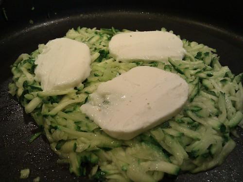 Sauteed zucchini, melting mozzarella