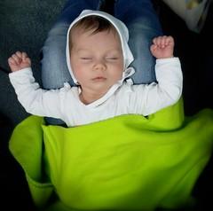 Sleeping style! (Adrian Mitu) Tags: sleeping baby cute green eyes hands closed exposure nap arms natural legs pussy mother fist blanket newborn knees miruna