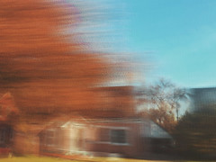 10/16 (nikaylasnyder) Tags: motion blur long exposure swirl landscape trees homes houses mcdonalds blue skies fall autumn filter
