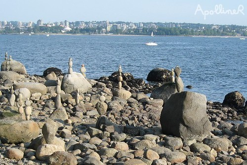 Stacked pebbles by Vancouver Seawall