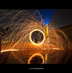 Sparking Eiffel (iPh4n70M) Tags: wood light paris france reflection tower water architecture night dark circle de fire photography tokyo photo chains nikon eau iron photographer photographie tour place walk lumière flames eiffel bolas fisheye reflet sombre photograph poi photowalk palais fuego nikkor bp fusion sparks 16mm spark liquid nuit nocturne fury ballade feu parisian fer cercle paille balade laine étincelles photographe flammes parisienne parisien chaînes nohdr limaille d700