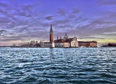 sinking feeling (gruntpig) Tags: blue venice roof sea sky italy lake color building tower church water beautiful beauty architecture clouds boats canal high italian san italia waves bell awesome religion belltower monastery tiles dome definition di highdefinition venetian colourful venezia hdr giorgio gondolier gondolas rooves choppy highdef churchofsangiorgiomaggiore maggiorechiesa