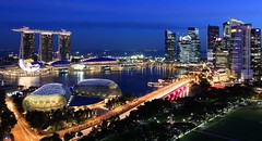Viva Singapura! (A Sutanto) Tags: city building skyline night marina evening bay twilight singapore asia view dusk balcony room esplanade cbd southeast sands swissotel