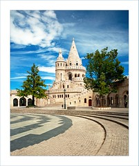 Fishermen's Bastion, Budapest - HUNGARY (Botond Horvth) Tags: old city blue summer sky white color building tree castle nature architecture clouds nikon famous budapest nikkor bastion buda fishermens 2010 d90 botond horvth 1685mm