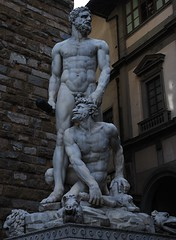 Speak Softly and Carry A Big Stick! (Little Italy Photography) Tags: old city travel sculpture building men history tourism museum religious photography florence italian europe artistic beefy capital religion hard citylife holy tuscany dome hero sacred historical firenze fountains rotunda ornamental domes mythology renaissance medici europeanunion hercules greekmythology studs portico relic cacus palazzovecchio corinthiancolumns destinations historicalsites romanmythology capitalcities traveldestinations colorimage archaeologicalsites sooc herculesandcacus hccity 18105mmvrzoomnikkorlens grecoromanmyth