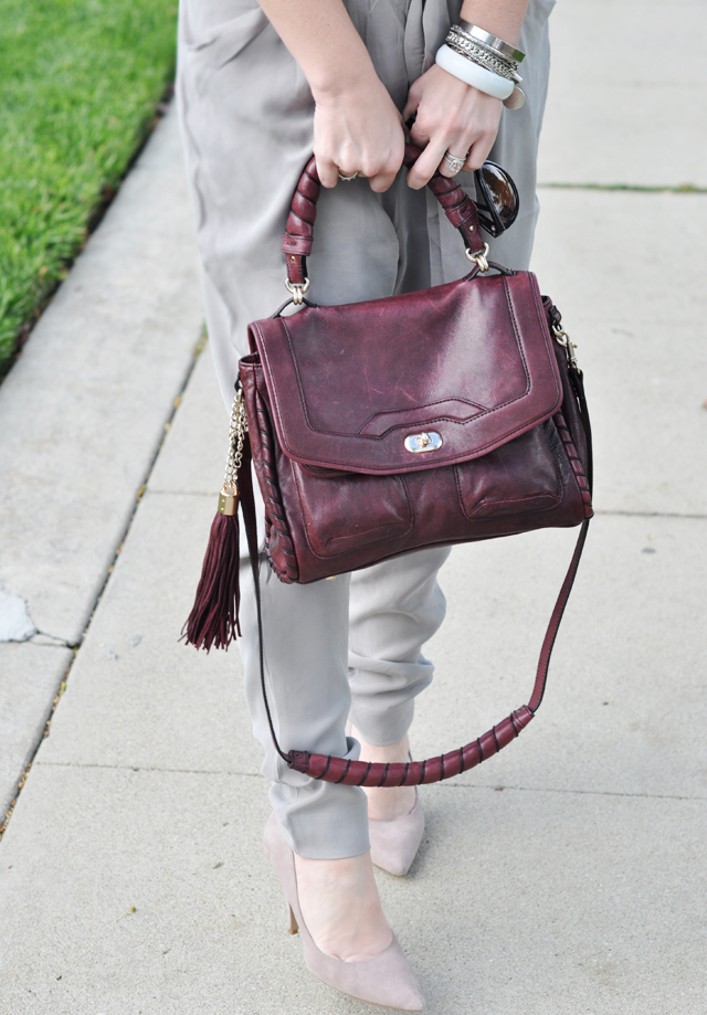 burgundy constance bag with tassel