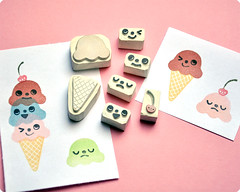 Ice Cream hand carved rubber stamp set