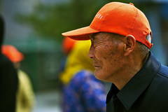 Lateral (L F Ramos-Reyes) Tags: china old portrait colors asian chinese oldman aged wrinkles sideways changping baseballcap tectures lionfrr
