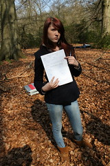 Sam pointing at paper (jodilei) Tags: film woods shoot surrey virginiawater royallandscape