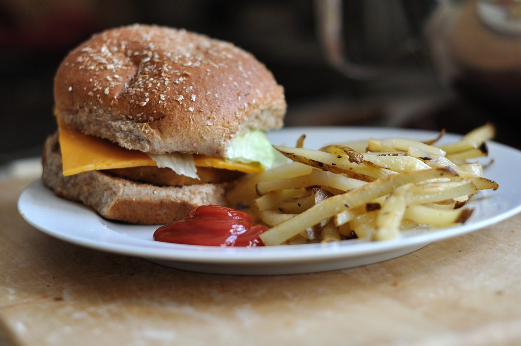 Veggie Chickie Burgers and Homemade Baked Fries