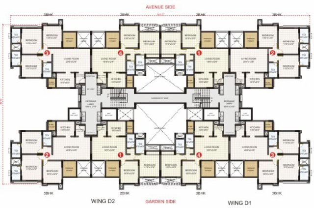 Typical Even Floor Plan of D1 - D2 Wings in Pride Aashiyana, Lohegaon Gram Panchayat, Dhanori, Pune