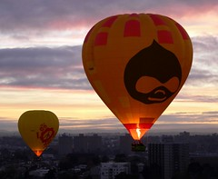 Druplicon emblazoned on a hot air balloon hovering over Melbourne