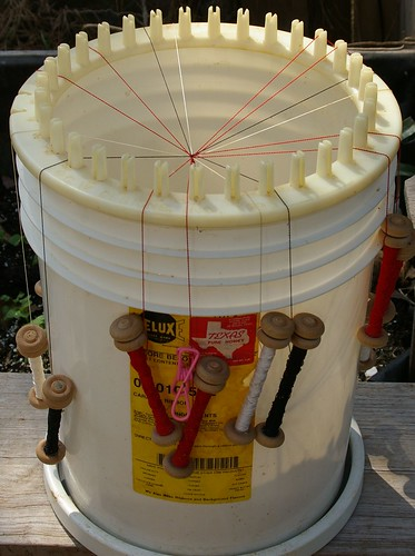 5 gallon bucket with Knit a round and lazy susan and handmade tama