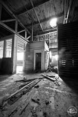 Forgotten (Blaze Williams) Tags: california blackandwhite bw abandoned contrast canon photography williams room sigma wideangle warehouse forgotten blaze blackandwhitephotography 816 sigmalens abandonedroom 40d canon40d 816mm blazewilliams sigma816mm