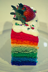 Homemade Rainbow Cake (sueling.curtis) Tags: blue red food orange white green yellow cake dessert baking yummy rainbow strawberry nikon colorful sweet egg plate delicious homemade sprinkles butter pastry icing layers crumbs 1855 porcelain culinary gastronomy batter foodstyling nikond3100