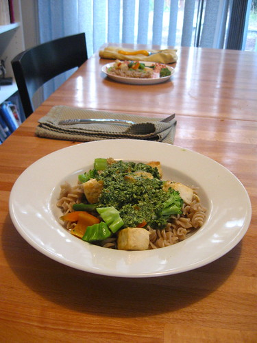 Rice Pasta, Veggies, Tofu, Pesto