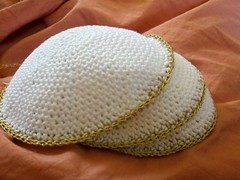 #1-3 (Knit n Frog) Tags: wedding white gold handmade metallic crochet cotton lara yarmulke dmc kippah elann antiquegold dmcthread