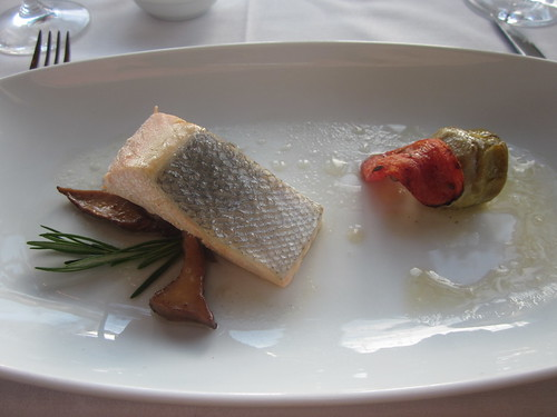 Pacific's Edge - Hyatt Highlands - Carmel, CA - April 2011 - Wild King Salmon with Olive Oil Poached Artichhoke Barigoule, Oven Roasted Tomato, Chanterelles