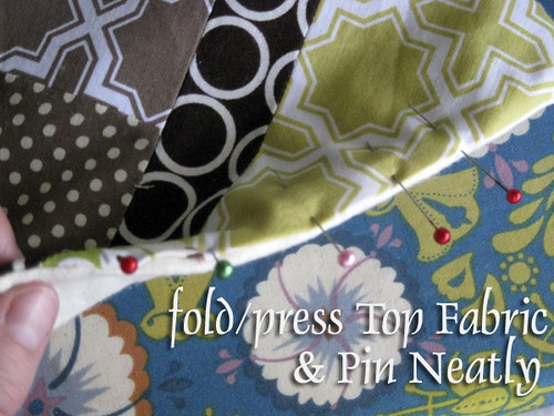 #3 Fold/Press top fabric, Pin & Stitch closed