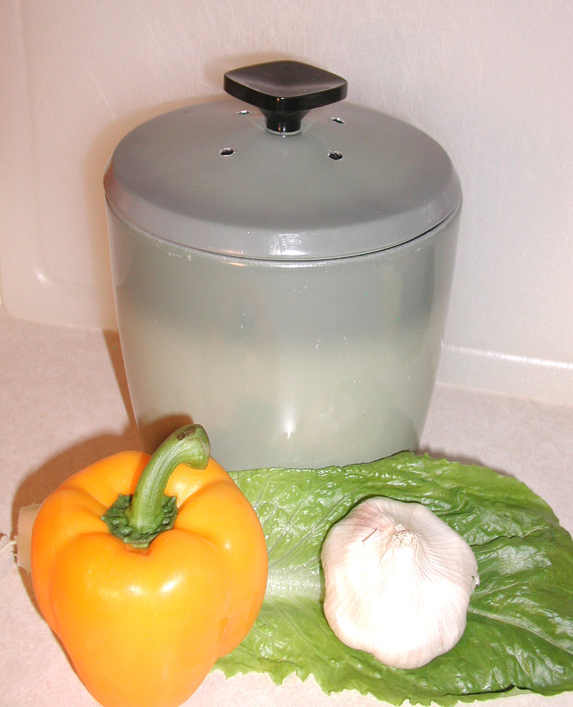 Green Kitchen Composter - Upcycled From Vintage Kitchen Canister