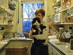 Sundae and Miko (BklynCherry) Tags: cat cozy afternoon tuxedokitties siberian sundae pajamapants blackandwhitecats goofycats mymessykitchen demoncats mikoscat catbedsihaveknown catbelliesihaverubbed mytiredfeet morningbecomes penguincats duskandcats teenagersandcats
