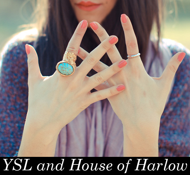 YSL Arty Oval Ring, House of Harlow Rose Gold Ring