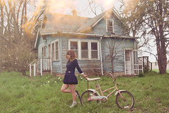 (yyellowbird) Tags: house abandoned girl bicycle lights illinois lolita cari oldskoolediting