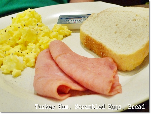 Turkey Ham, Scrambled Eggs, Bread