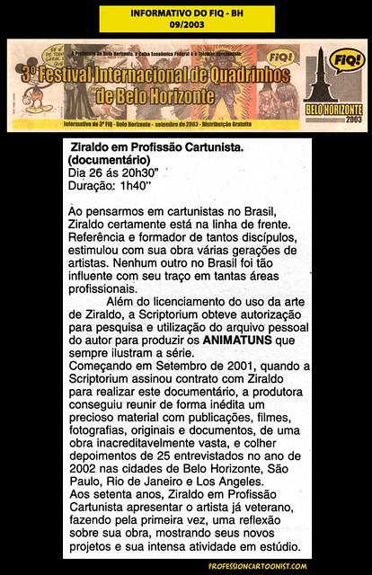 """""""Ziraldo em Profissão Cartunista"""" - Informativo do FIQ - setembro/2003"""