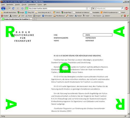 Webseite RADAR Frankfurt