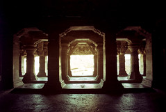 badami - cave three 6 - interior looking out (Doctor Casino) Tags: 3 architecture temple architect third cave 3rd rockcut chalukyan vatapi 578580