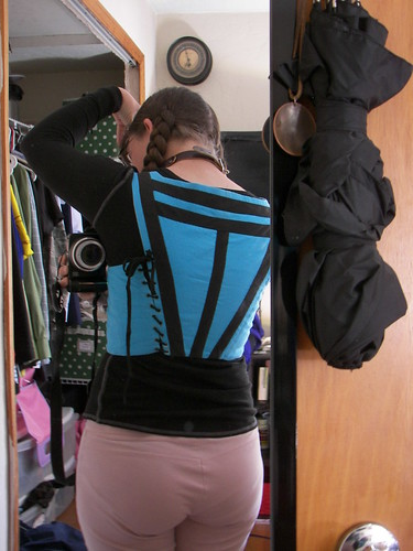 Back view of Bodice, Turquoise Italian Working-Class Dress on Morgandonner.com