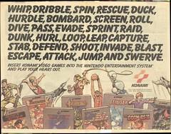 Konami NES ad (1988) (Paxton Holley) Tags: field vintage advertising track nintendo ad attack retro advertisement nostalgia videogames gaming rush comicbook nes stinger goonies topgun konami castlevania gradius doubledribble