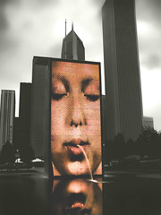 The Face (jackaloha2) Tags: park longexposure urban chicago art fountain architecture photoshop skyscrapers urbanart fragments theface selectivecoloring sbfmasterpiece jackaloha2 mygearandme photoshopcs5 sbfgrandmaster
