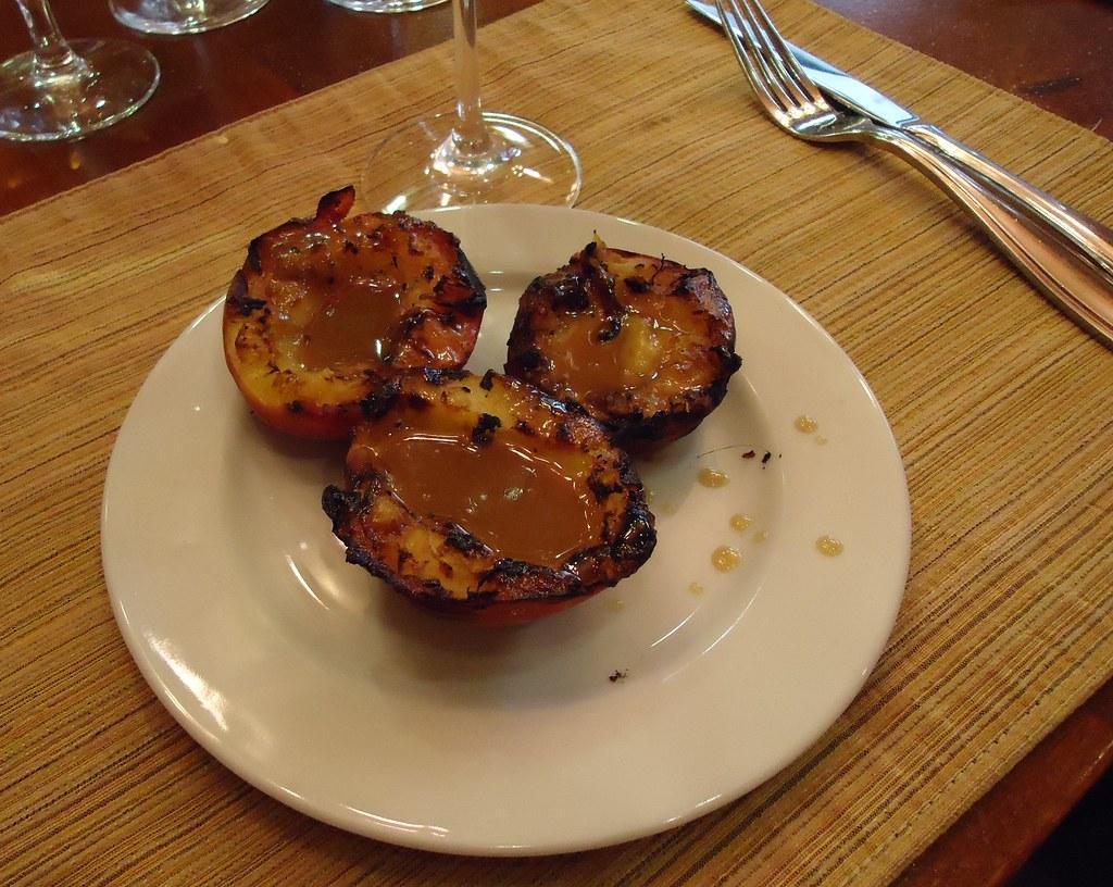 Grilled peaches. Argentine Parilla.